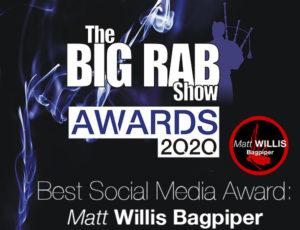 Matt Willis Bagpiper wins Best Social Media Award!