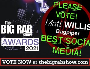 Up for BEST SOCIAL MEDIA in the 2021 Big Rab Show Awards!